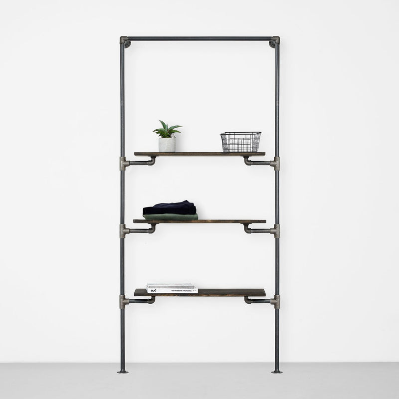 The Walk-In 1 row wardrobe system - 1 rail & 3 shelves