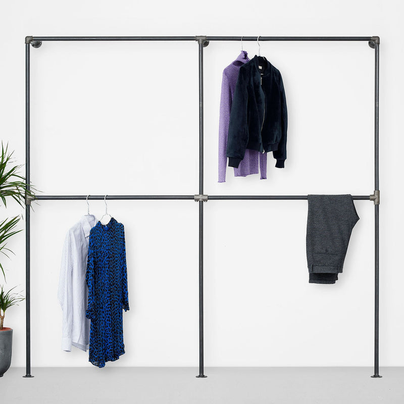 The Walk-In 2 row wardrobe system - 2 rails / 2 rails