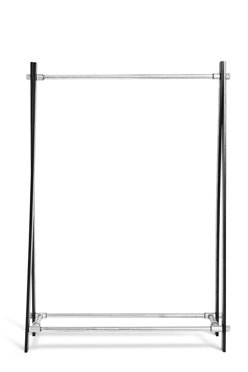RackBuddy Freja - clothes rack in black oak and silver iron pipes