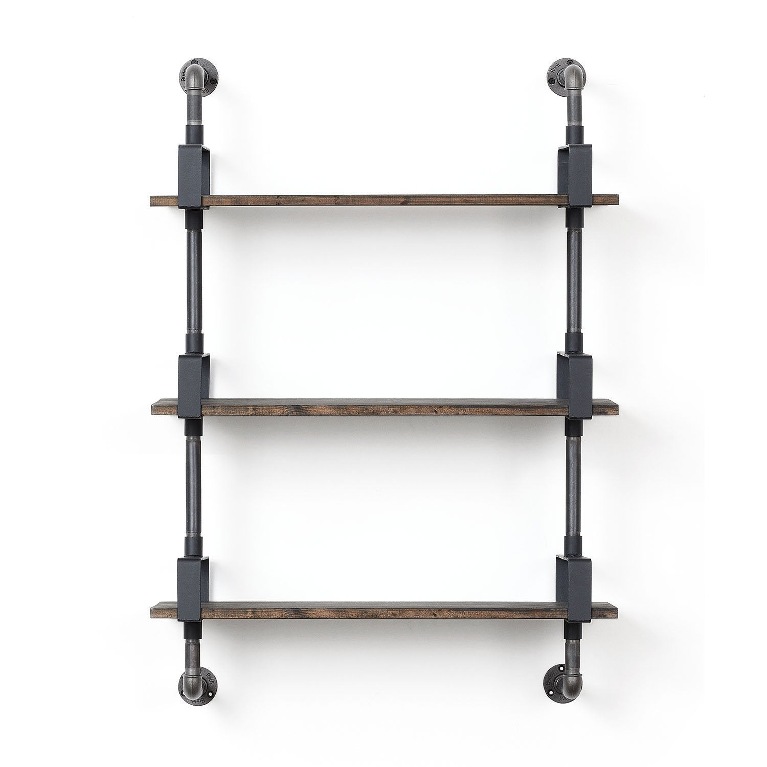 RackBuddy Shelfie System with three wooden shelves
