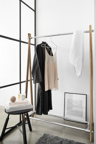 RackBuddy Sif Nordic Collection clothing rack made of waterpipes and wood