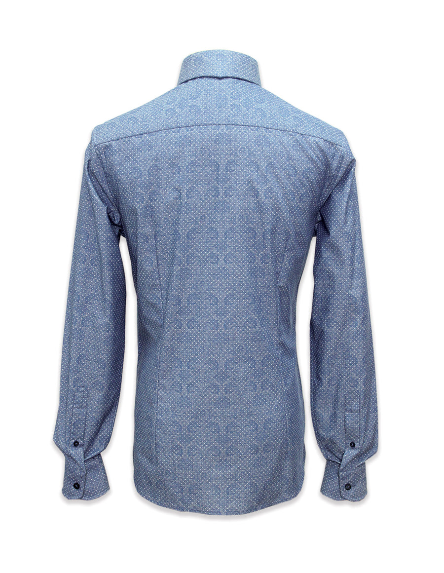 Long Sleeved Printed Chambray Shirt