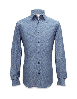 Long Sleeved Printed Blue Shirt