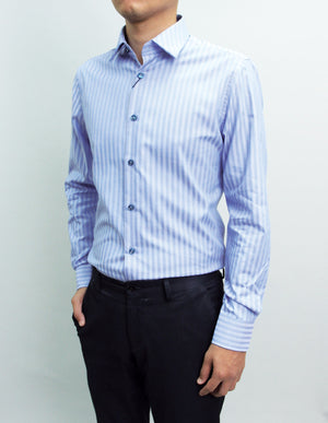 Long Sleeved Blue Herringbone Shirt