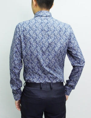 Long Sleeved Dark Blue Paisley Shirt