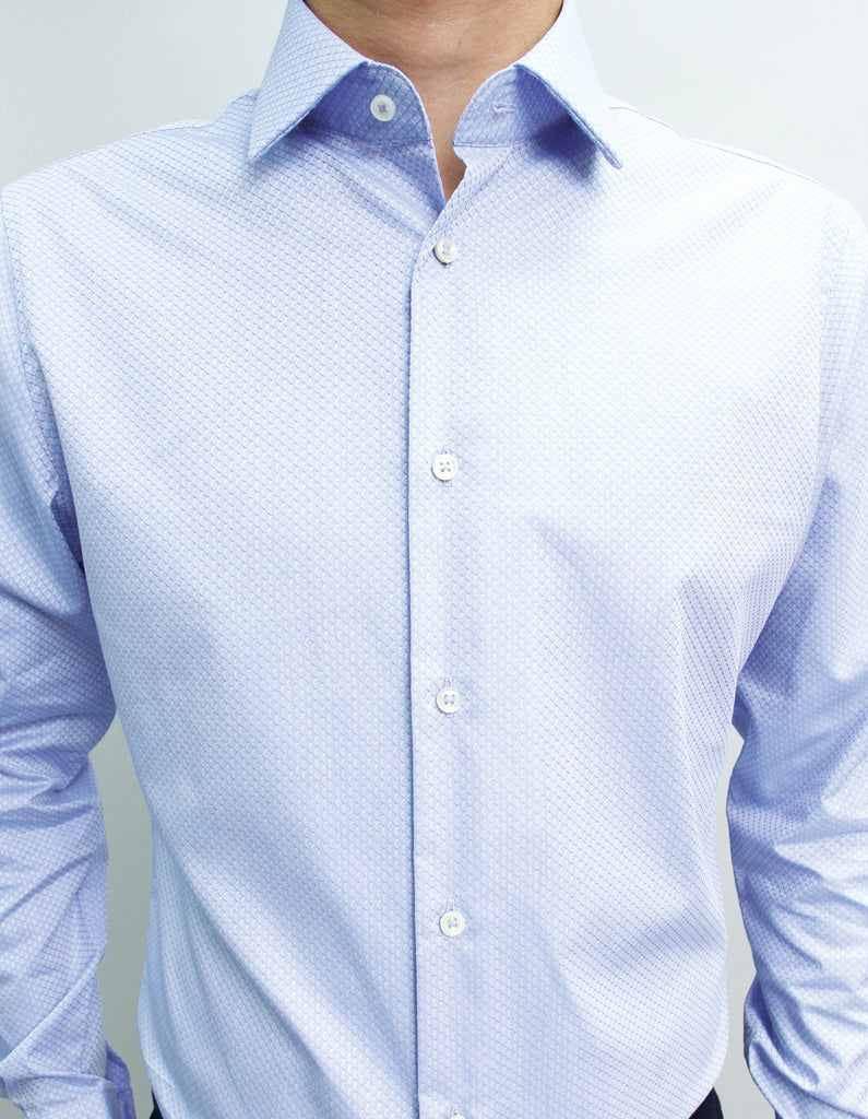 Long Sleeved Blue Honeycomb Shirt