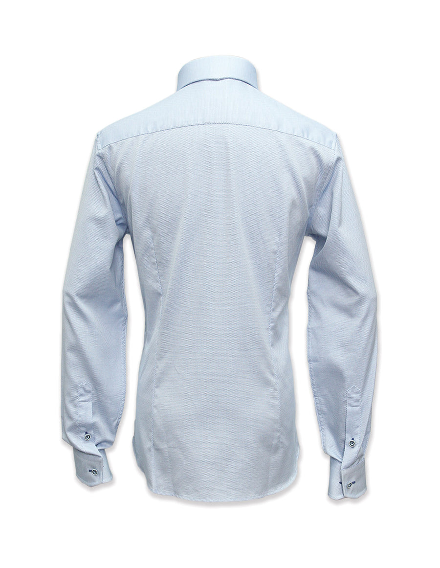 Long Sleeved Blue Textured Clarke Shirt