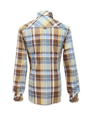 Long Sleeved Brown Plaid Shirt