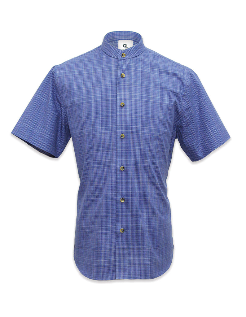 Short Sleeved Blue Plaid Shirt