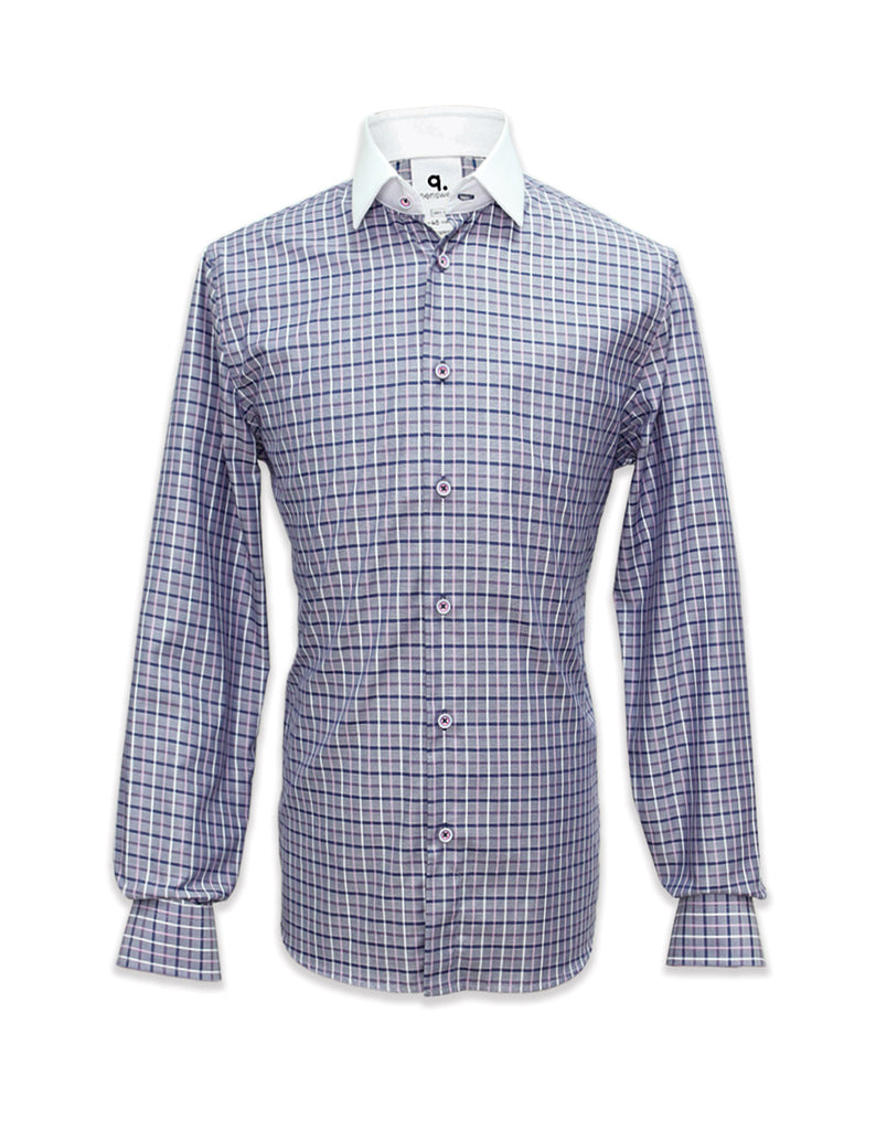 Long Sleeved Checks Shirt with White Collar