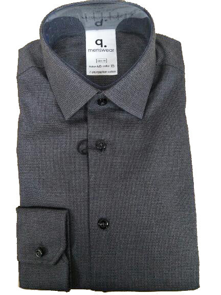 Long Sleeve Olona Dark Grey Textured Shirt