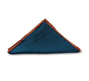 Blue With Orange Line Pocket Square