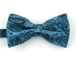 Teal Paisley Bow Tie