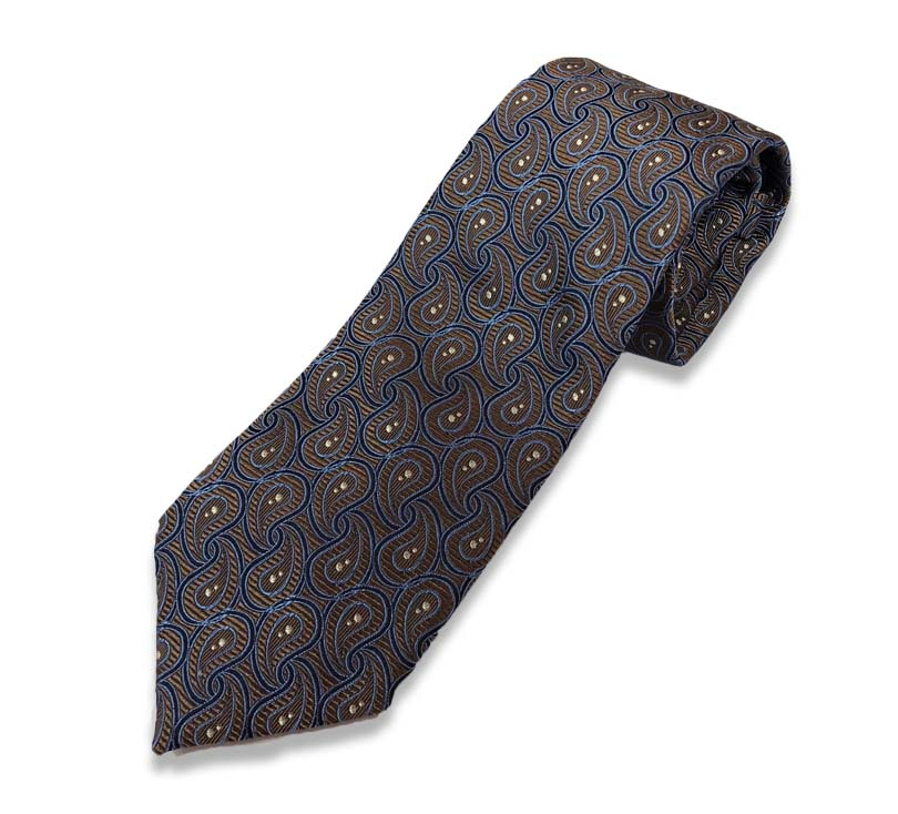 Brown And Blue Paisley Tie