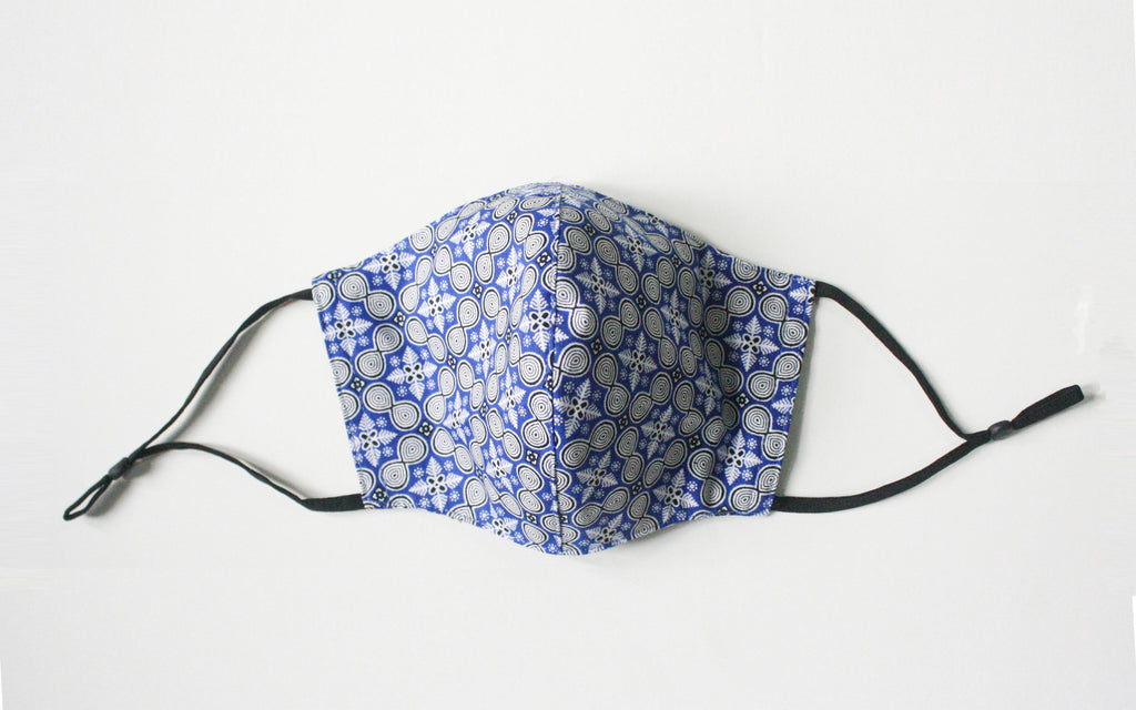 Electric Blue Batik Print Face Mask
