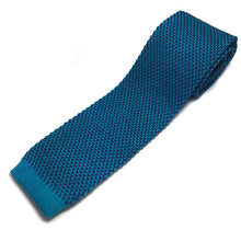 Load image into Gallery viewer, Teal Blue 2-tone Knitted Tie
