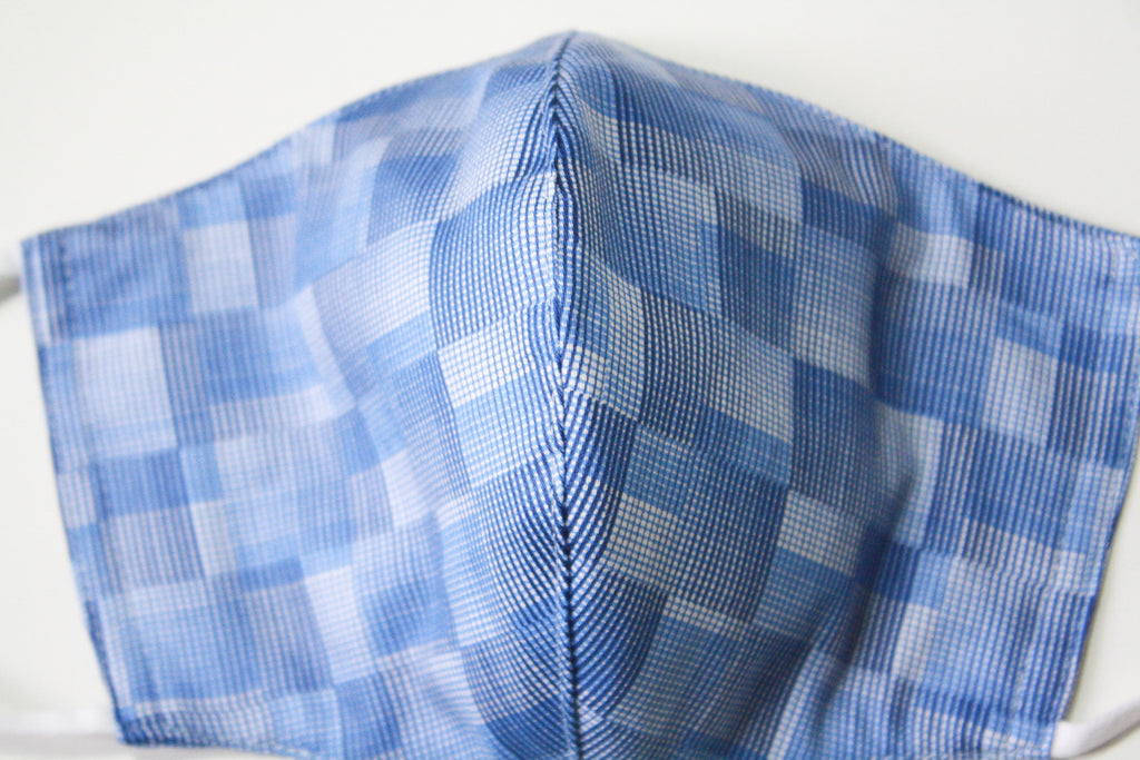 Blue Gradient Checks Face Mask