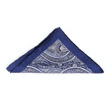Load image into Gallery viewer, Blue Paisley Print Pocket Square