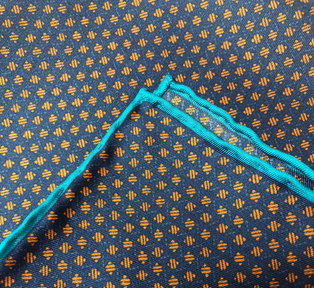 Orange With Blue Line Pocket Square