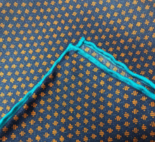 Load image into Gallery viewer, Orange With Blue Line Pocket Square