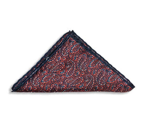 Red Paisley Pocket Square With Blue Line