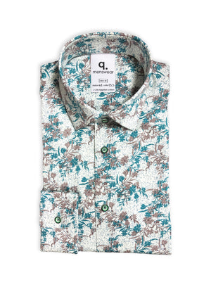 Long Sleeved Green Floral Printed Shirt