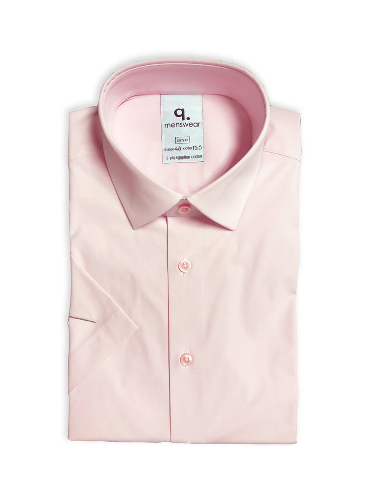 Short Sleeved Pink Solid Shirt