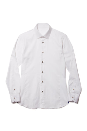 Long Sleeve White Shirt with Gold Buttons