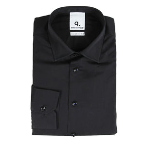 Black Shirt with Pleated Asymmetrical Hem