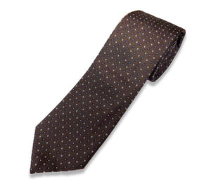 Brown With Blue Flower Silk Tie