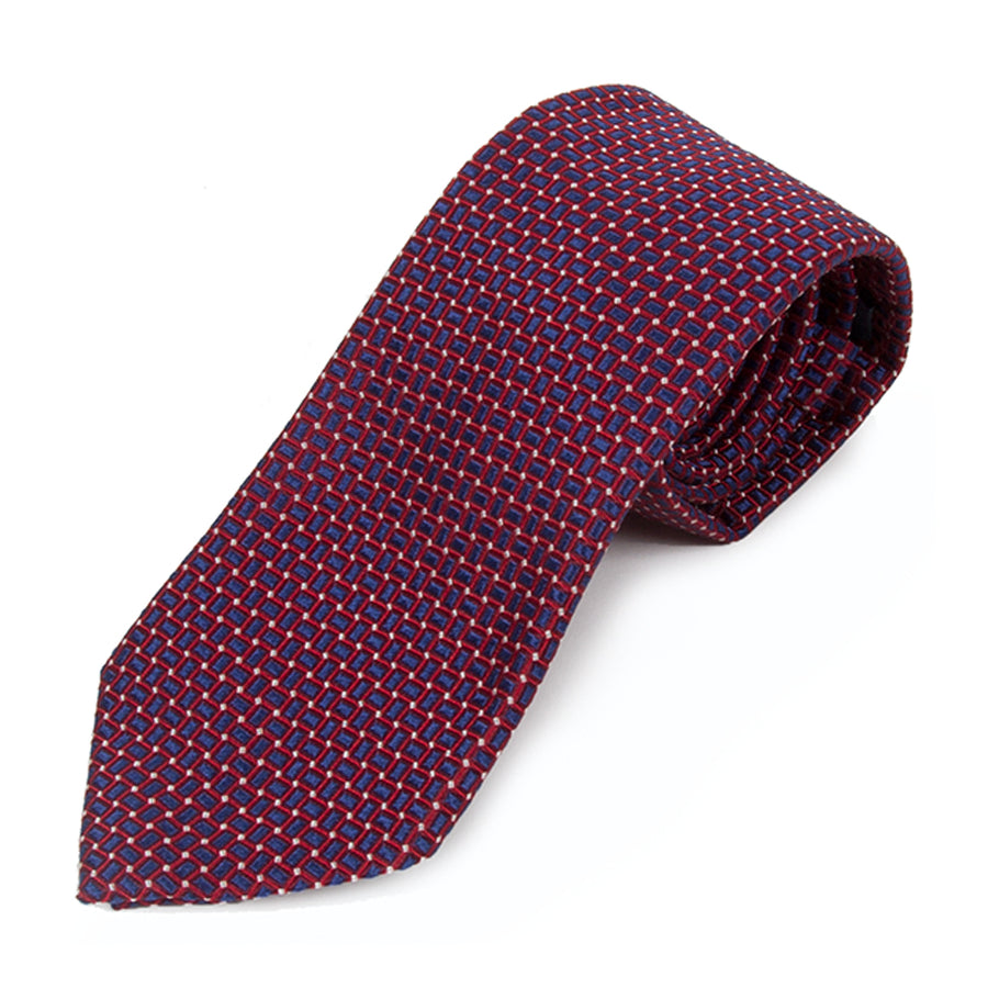 Red and Blue Web Silk Tie