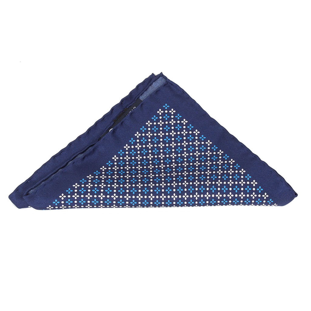 Navy Blue Print Pocket Square (Clover)