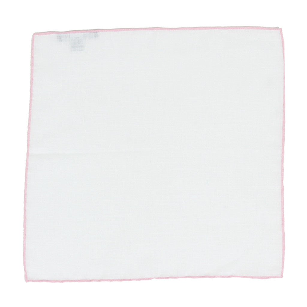 White Linen Pocket Square with Pink Edge