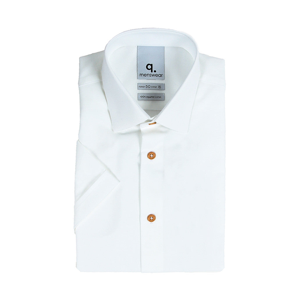 Short Sleeved White Oxford Shirt