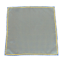 Load image into Gallery viewer, Blue Yellow Round Square Print Pocket Square