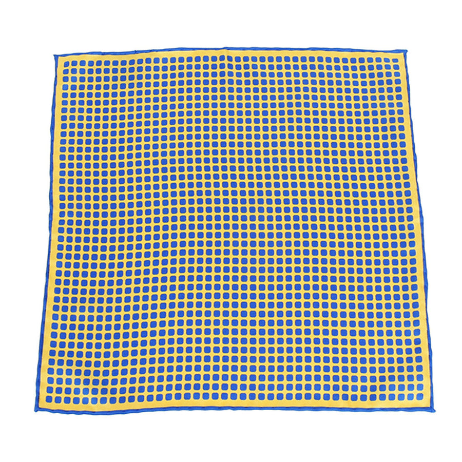 Blue Yellow Round Square Print Pocket Square
