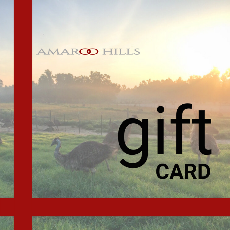 Give someone else the gift of enjoying Amaroo Hills' all-natural, USDA inspected emu meat, duck meat, and ostrich meat products! Order an Amaroo Hills electronic gift card today!