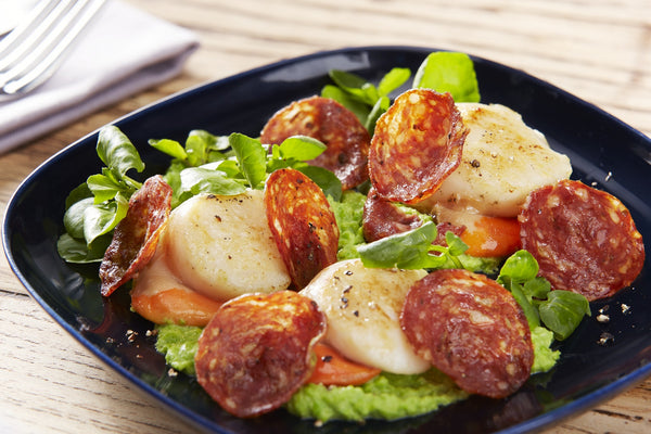 Scallops with Spicy Cumberland Salami served with Pea Puree