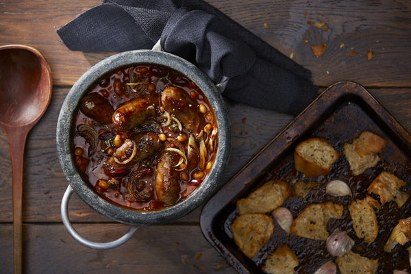 Boston Baked Beans with Smoked Cumberland Sausages