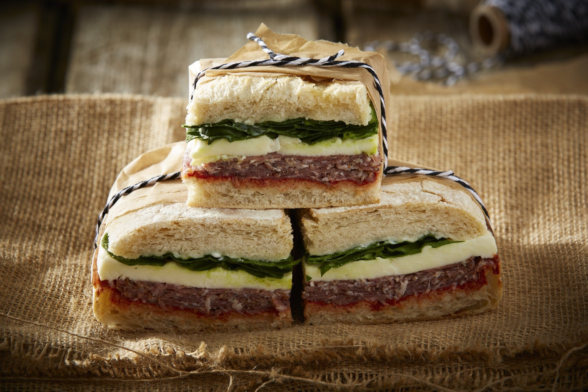 Pressed Picnic Sandwich with Black Pepper & Garlic Salami