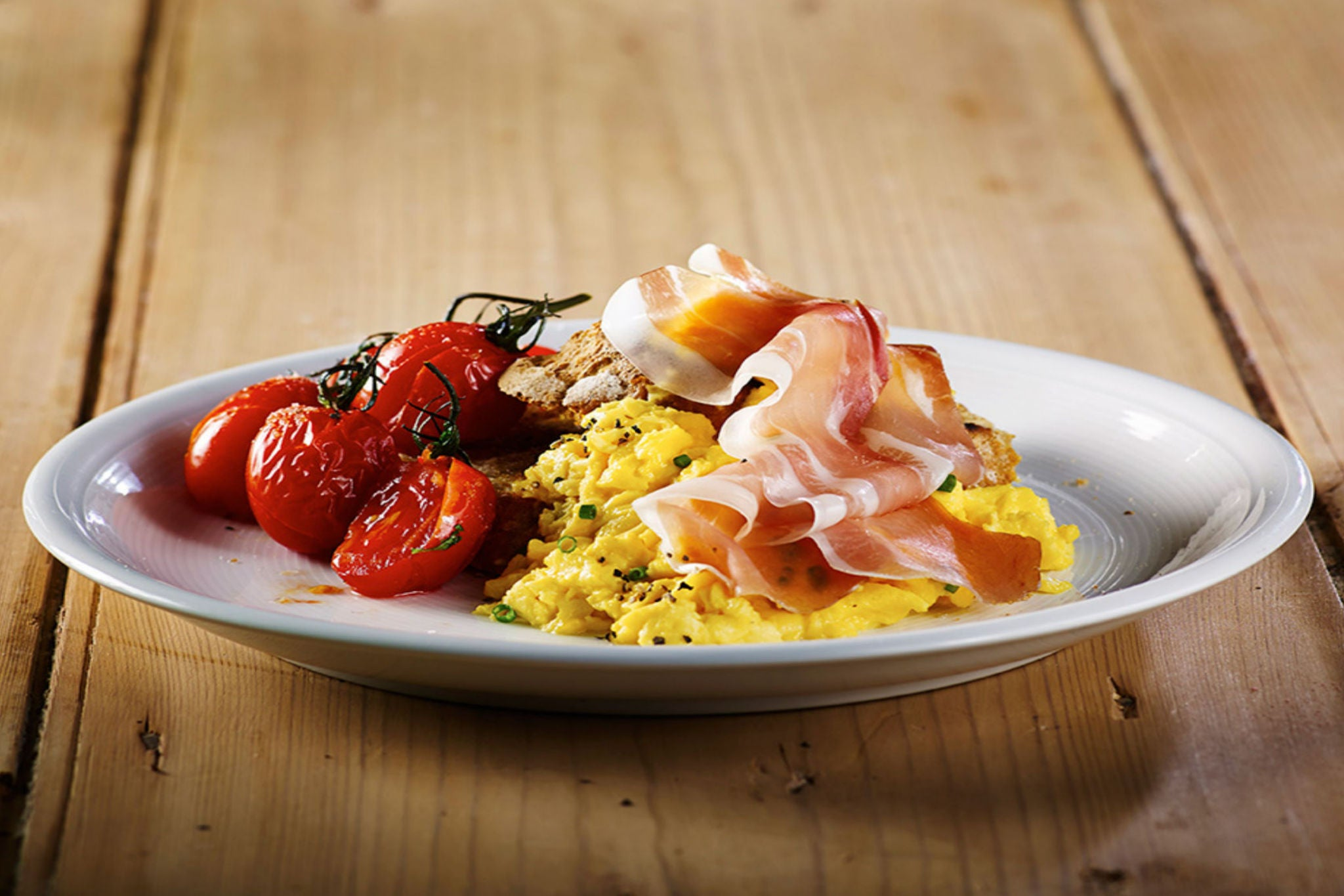 Breakfast crostini with Cumbrian Air-Dried Ham and Free Range Eggs