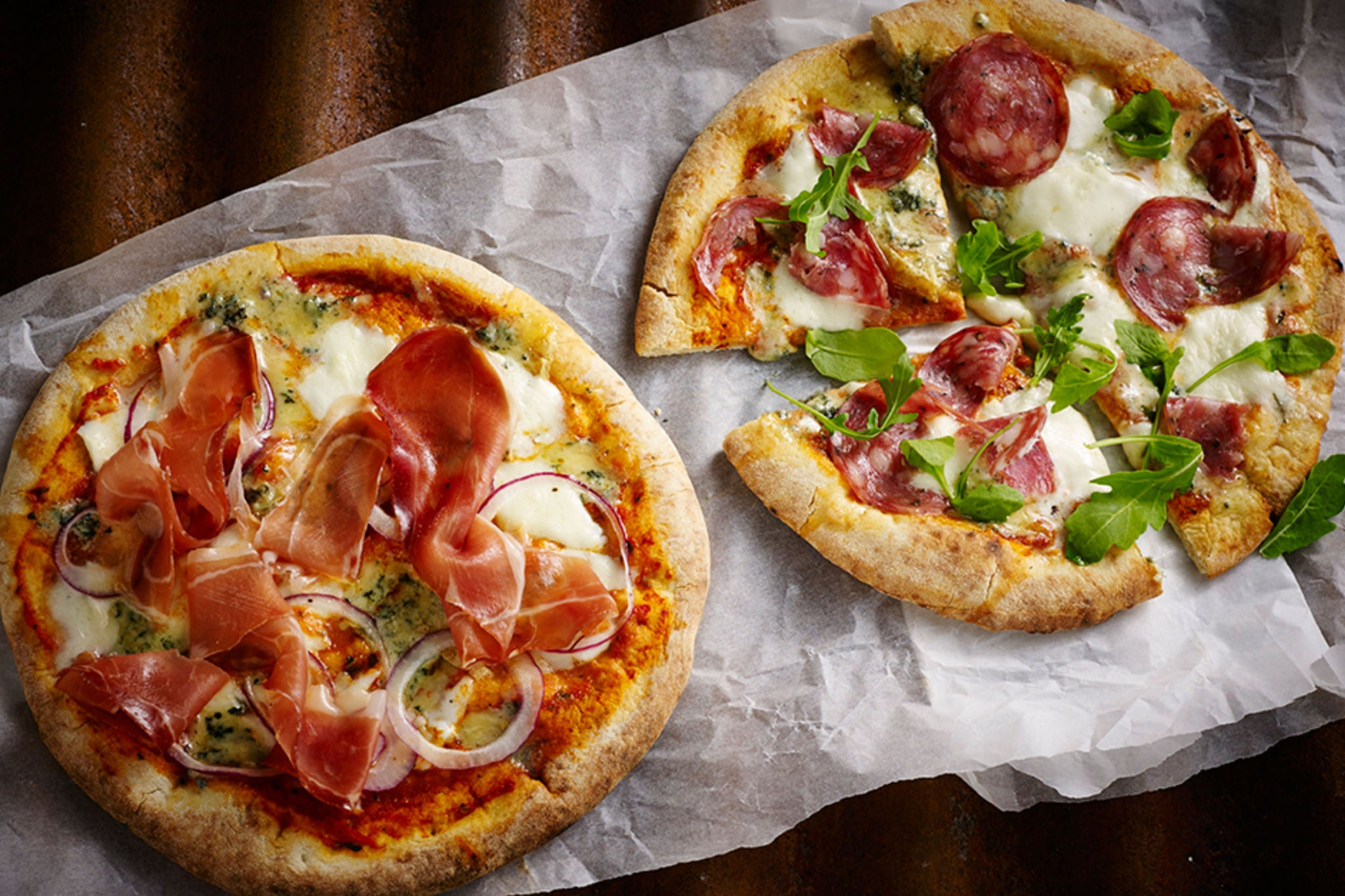 Pizzas topped with Black Combe Air-Dried Ham and Cumberland Salami