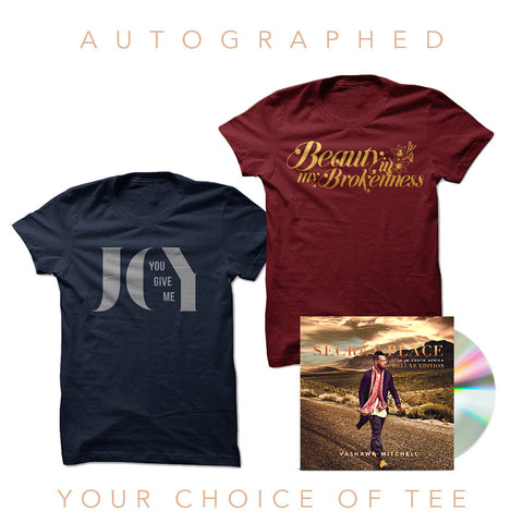 VaShawn Mitchell - Secret Place Autographed Deluxe CD + Your Choice Of Tee