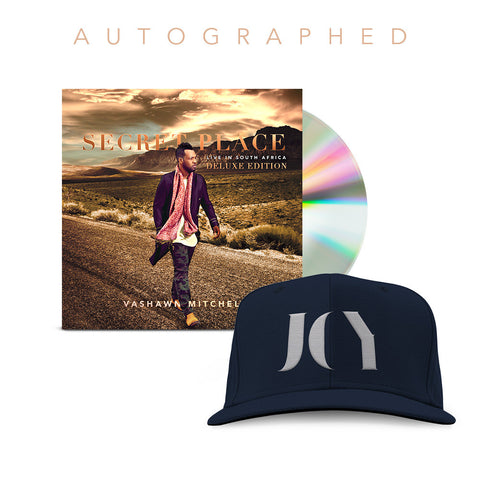VaShawn Mitchell - Secret Place Autographed Deluxe CD + Joy Snapback