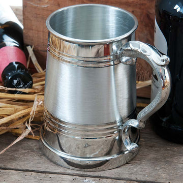 1 Pint Satin Band Pewter Tankard
