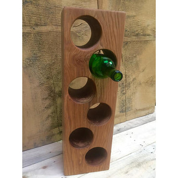 Solid Oak 6 Bottle Wooden Wine Rack