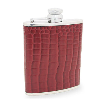 6oz Hip Flask Burgundy Crocodile Print Leather