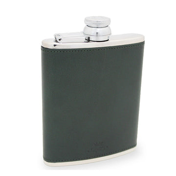 6oz Hip Flask Green Leather