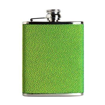 6oz Hip Flask Green Yellow Hoxton Leather