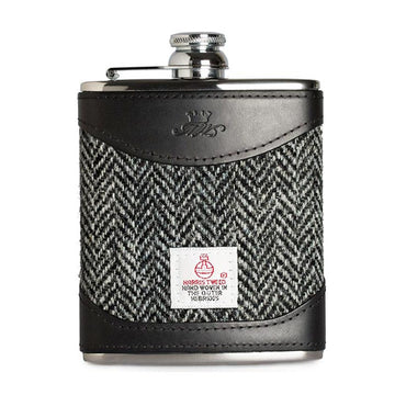 6oz Hip Flask Harris Tweed and Black Leather